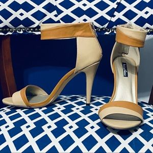 Michael Antonio nude and brown ankle strap heels
